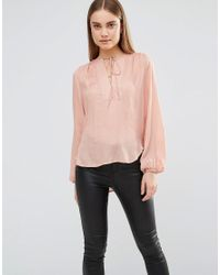 AX Paris | Pink Blouse With Front Panel And Tie Front | Lyst