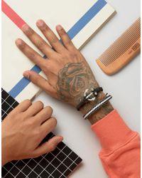 ASOS - Leather Bracelet Pack In Black With Anchor for Men - Lyst
