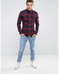 ASOS - Skinny Check Shirt In Red for Men - Lyst