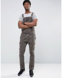 ASOS | Green Denim Dungarees With Zips In Camo for Men | Lyst