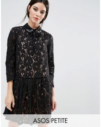 ASOS | Black Premium Smock Dress With Embellished Collar In Lace | Lyst