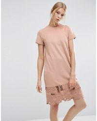 ASOS | Pink T-shirt Dress With Cutwork Hem | Lyst