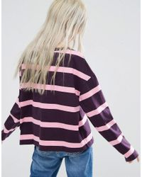 Weekday - Multicolor Stripe Panel Long Sleeve T-shirt - Purple/pink - Lyst