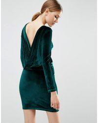 ASOS | Green Velvet Wrap Back Long Sleeve Mini Dress | Lyst
