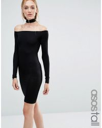 ASOS | Black Long Sleeve Off The Shoulder Bardot Mini Bodycon Dress With Choker Collar | Lyst