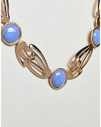 ASOS - Metallic Asos Statement Abstract Cut Out Stone Detail Necklace - Lyst