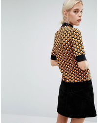 Monki - Yellow Contrast Trim Printed T-shirt - Lyst