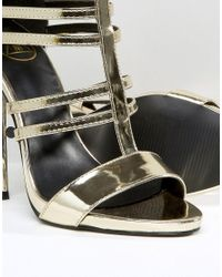 Missguided - Metallic Strappy Gladiator Heeled Sandals - Lyst