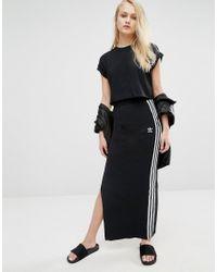 5ed0ec327a6 adidas Originals Maxi Skirt With 3 Stripes in Black - Lyst