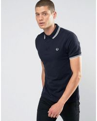 Fred Perry | Slim Fit Polo With Twin Tipped In Blue for Men | Lyst