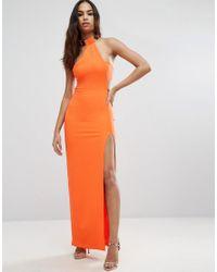 ASOS | Orange Gold Bar Halter Maxi Dress | Lyst