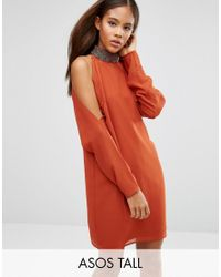 ASOS | Brown Embellished Trim Cold Shoulder Sleeve Mini Dress | Lyst