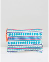 Ashiana - Blue Embroidered Toiletry Bag With Wateproof Lining - Lyst