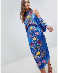 eb0318f81d8 Women s Blue Asos Cold Shoulder Pencil Midi Dress With Star And Floral  Embroidery