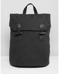 ASOS - Black Backpack In Canvas With Toggle Fastening for Men - Lyst
