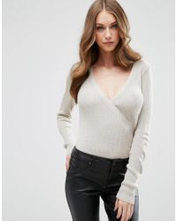ASOS | Gray Knitted Body In Rib With Wrap Front | Lyst