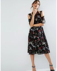 ASOS   Midi Dress With Cold Shoulder And Lace Detail In Black Swan Print   Lyst