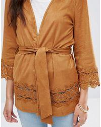 Vila - Brown Drawn Kimono - Lyst