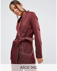 ASOS | Red Piped Stripe Pyjama Jacket | Lyst
