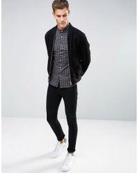 ASOS - Black Skinny Check Shirt for Men - Lyst