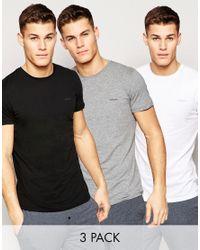 DIESEL | Logo Crew Neck T-shirt 3 Pack White In Regular Fit for Men | Lyst