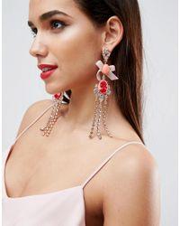 ASOS - Metallic Occasion Cameo Fringe Earrings - Lyst