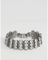 ASOS | Metallic Crystal Curb Chain Bracelet | Lyst