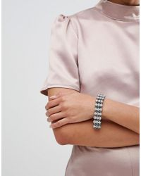 ASOS - Metallic Crystal Curb Chain Bracelet - Lyst