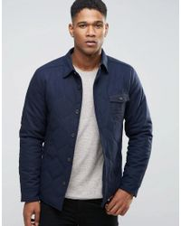 Esprit | Blue Wool Shirt Jacket With Quilted Lining And Flecked Pocket for Men | Lyst