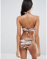 ASOS - Black Fuller Bust Tiger Print Halter Hidden Longline Bikini Top Dd-g - Lyst