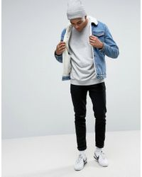 Pull&Bear - Black Denim Jacket With Borg Lining And Collar In Light Wash for Men - Lyst