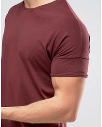 Pull&Bear - Pink Longline T-shirt In Burgundy for Men - Lyst