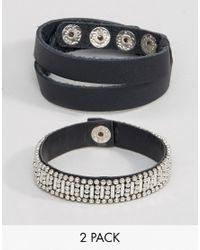 ASOS | Black Pack Of 2 Leather Stud Bracelets | Lyst
