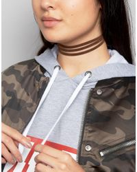 ASOS | Brown Suede Strand Choker Necklace | Lyst