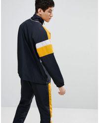 Ellesse - 1/4 Zip Funnel Track Jacket With Panels In Black for Men - Lyst