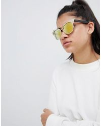 Quay - Metallic Zig Aviator Sunglasses With Brow Detail In Gold - Lyst