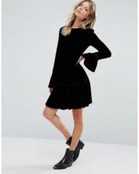 Mango - Black Velvet Frill Sleeve Dress - Lyst