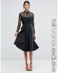Y.A.S | Black Pretty Skater Dress With Lace Yoke And Sleeves | Lyst