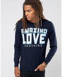Love Moschino | Blue Amazing Logo Jumper for Men | Lyst