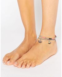 ASOS | Multicolor Pack Of 2 Tassel Bead Anklet | Lyst