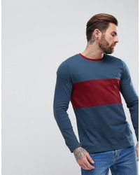 ASOS - Blue Long Sleeve Crew Neck T-shirt With Colour Block for Men - Lyst