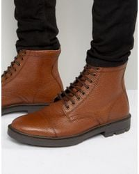 ASOS | Brown Lace Up Boots In Tan Scotchgrain Leather With Toe Cap for Men | Lyst