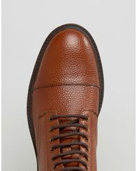 ASOS - Brown Lace Up Boots In Tan Scotchgrain Leather With Toe Cap for Men - Lyst