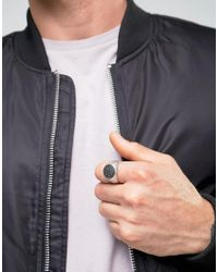 Seven London - Metallic Stone Signet Ring In Silver - Silver for Men - Lyst