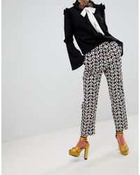 Sister Jane Black Tailored Cigarette Trousers In Queen Of Hearts Print
