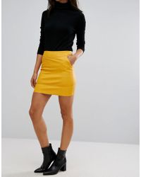 ONLY - Yellow Faux Leather Mini Skirt - Lyst