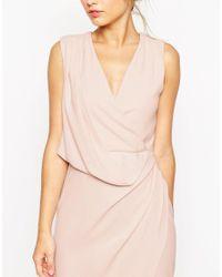 ASOS - Wedding Wrap Drape Midi Dress - Red - Lyst