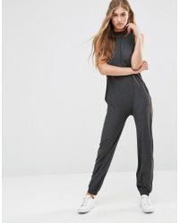 Vero Moda - Gray High Neck Lounge Jumpsuit - Lyst