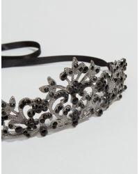 Regal Rose - Metallic Halloween Ember Black Crystal Tiara - Silver - Lyst