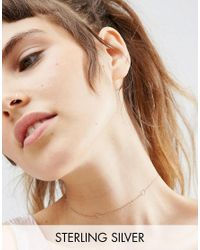 ASOS | Metallic Rose Gold Plated Sterling Silver Hexagon Choker Necklace | Lyst